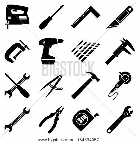Set of sixteen industrial building manufacturing engineering tools in flat style. Black and white vector illustration