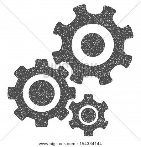 Gear Mechanism grainy textured icon for overlay watermark stamps. Flat symbol with dirty texture. Dotted vector gray ink rubber seal stamp with grunge design on a white background.