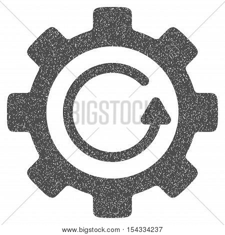 Gear Rotation Direction grainy textured icon for overlay watermark stamps. Flat symbol with unclean texture. Dotted vector gray ink rubber seal stamp with grunge design on a white background.