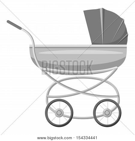 Stroller for toddler icon. Gray monochrome illustration of stroller for toddler vector icon for web