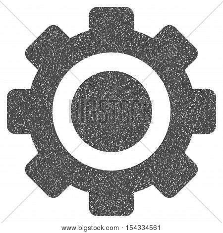 Gear grainy textured icon for overlay watermark stamps. Flat symbol with dust texture. Dotted vector gray ink rubber seal stamp with grunge design on a white background.