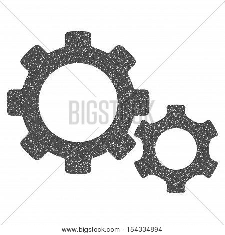Gears grainy textured icon for overlay watermark stamps. Flat symbol with scratched texture. Dotted vector gray ink rubber seal stamp with grunge design on a white background.