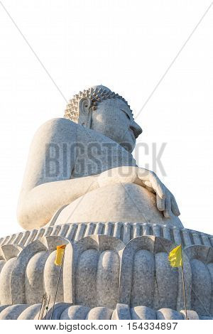 Perspective view from below of the popular Big Buddha on Nakkerd hills of Ao Chalong in Phuket, Thailand. Isolated on white background.