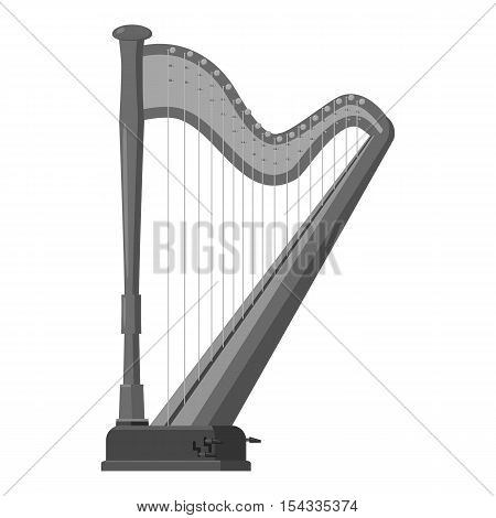 Harp icon. Gray monochrome illustration of harp vector icon for web