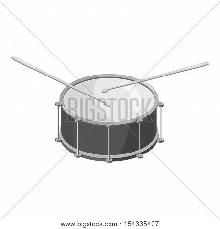 Drum with sticks icon. Gray monochrome illustration of drum with sticks vector icon for web