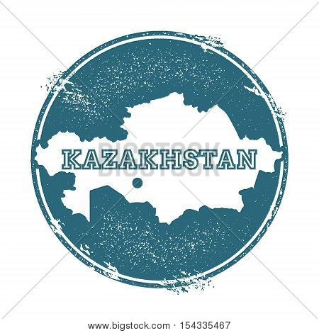Grunge rubber stamp with name and map of Kazakhstan vector illustration. Can be used as insignia logotype label sticker or badge of the country. poster