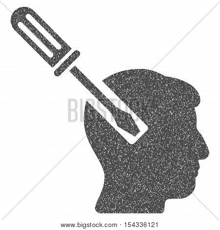 Head Screwdriver Tuning grainy textured icon for overlay watermark stamps. Flat symbol with dust texture. Dotted vector gray ink rubber seal stamp with grunge design on a white background.