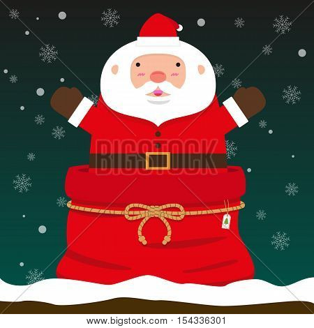 cute fat big Santa Claus come out of Christmas bag on falling snow flake green background