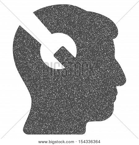 Head Surgery Wrench grainy textured icon for overlay watermark stamps. Flat symbol with dust texture. Dotted vector gray ink rubber seal stamp with grunge design on a white background.