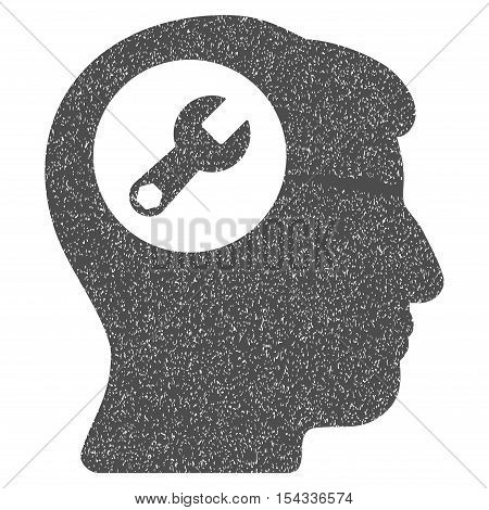 Head Wrench grainy textured icon for overlay watermark stamps. Flat symbol with dust texture. Dotted vector gray ink rubber seal stamp with grunge design on a white background.