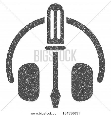Headphones Tuning Screwdriver grainy textured icon for overlay watermark stamps. Flat symbol with dirty texture. Dotted vector gray ink rubber seal stamp with grunge design on a white background.