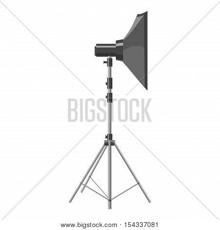 Spotlight for shooting icon. Gray monochrome illustration of spotlight for shooting vector icon for web