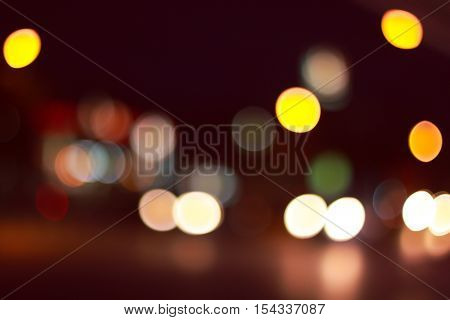 Bokeh Colorful  Abstract Defocused City On Street