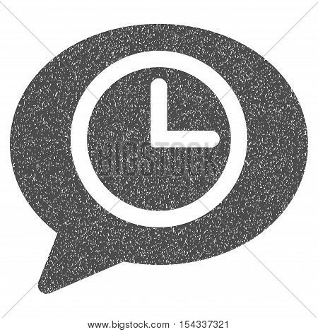 Message Time grainy textured icon for overlay watermark stamps. Flat symbol with unclean texture. Dotted vector gray ink rubber seal stamp with grunge design on a white background.