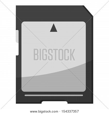 Memory card icon. Gray monochrome illustration of memory card vector icon for web