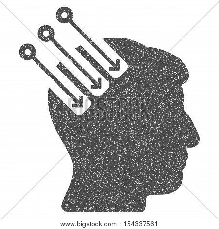 Neuro Interface grainy textured icon for overlay watermark stamps. Flat symbol with dust texture. Dotted vector gray ink rubber seal stamp with grunge design on a white background.