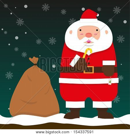 cute fat big Santa Claus stand with Chistmas bag on falling snow flake green background