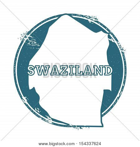 Grunge Rubber Stamp With Name And Map Of Swaziland, Vector Illustration. Can Be Used As Insignia, Lo