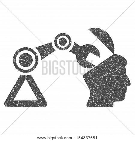 Open Head Surgery Manipulator grainy textured icon for overlay watermark stamps. Flat symbol with scratched texture. Dotted vector gray ink rubber seal stamp with grunge design on a white background.