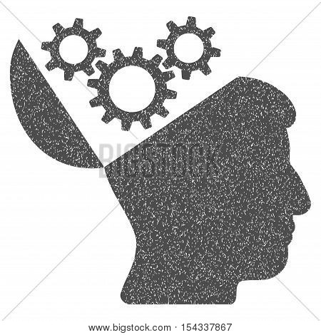 Open Mind Gears grainy textured icon for overlay watermark stamps. Flat symbol with unclean texture. Dotted vector gray ink rubber seal stamp with grunge design on a white background.