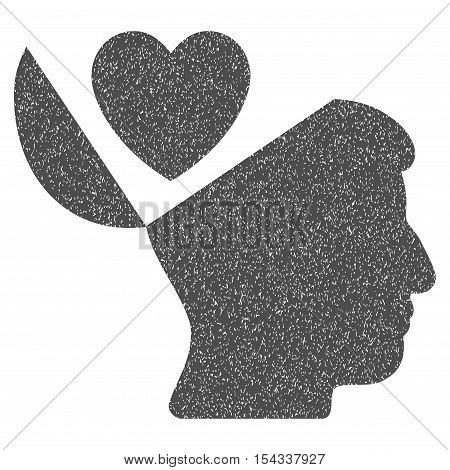 Open Mind Love Heart grainy textured icon for overlay watermark stamps. Flat symbol with scratched texture. Dotted vector gray ink rubber seal stamp with grunge design on a white background.