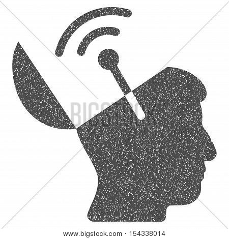 Open Mind Radio Interface grainy textured icon for overlay watermark stamps. Flat symbol with dirty texture. Dotted vector gray ink rubber seal stamp with grunge design on a white background.