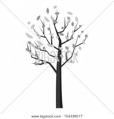 Autumn tree icon. Gray monochrome illustration of autumn tree vector icon for web