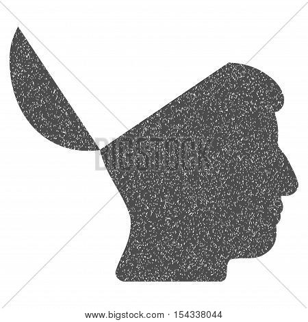 Open Mind grainy textured icon for overlay watermark stamps. Flat symbol with dirty texture. Dotted vector gray ink rubber seal stamp with grunge design on a white background.
