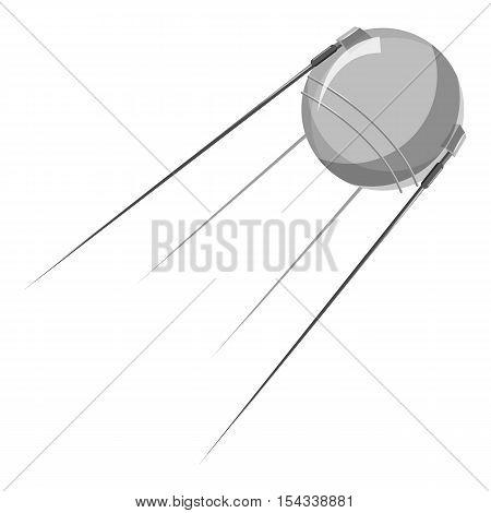 Artificial Earth satellite icon. Gray monochrome illustration of artificial Earth satellite vector icon for web