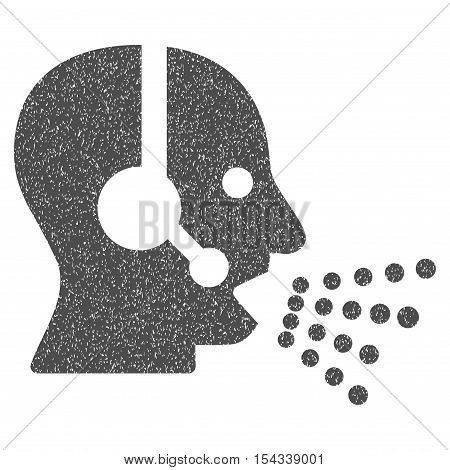 Operator Speech grainy textured icon for overlay watermark stamps. Flat symbol with scratched texture. Dotted vector gray ink rubber seal stamp with grunge design on a white background.