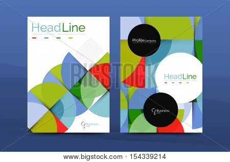 Business annual report cover design template, vector A4 brochure layout