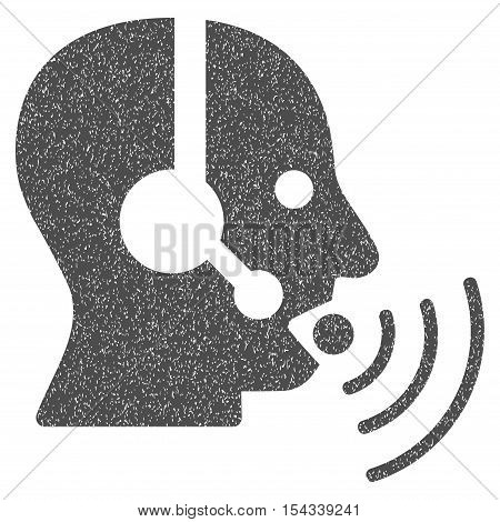 Operator Talking Sound Waves grainy textured icon for overlay watermark stamps. Flat symbol with dirty texture. Dotted vector gray ink rubber seal stamp with grunge design on a white background.