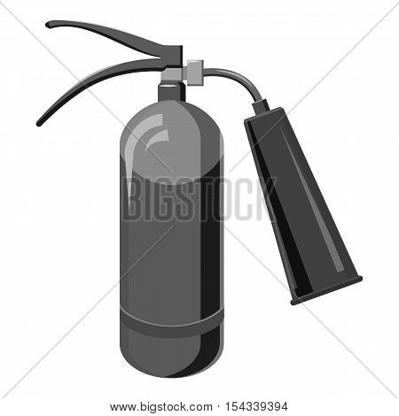 Fire extinguisher icon. Gray monochrome illustration of fire extinguisher vector icon for web
