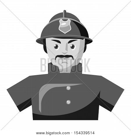 Fireman icon. Gray monochrome illustration of fireman vector icon for web