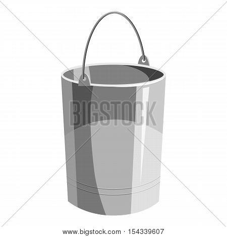 Metal bucket icon. Gray monochrome illustration of metal bucket vector icon for web