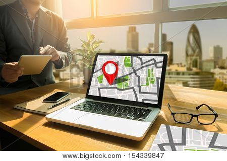 Gps Map To Route Destination Location,street Map With Gps Icons, Navigation