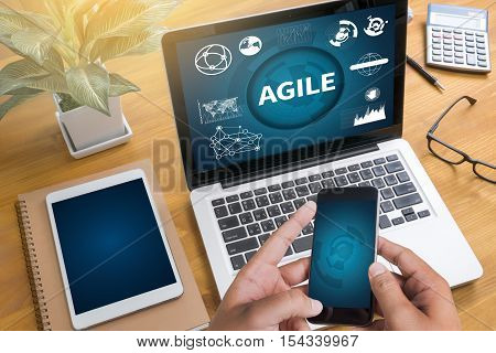 AGILE Agility Nimble Quick Fast Concept backlinks, blogging, businessman, casual, coach