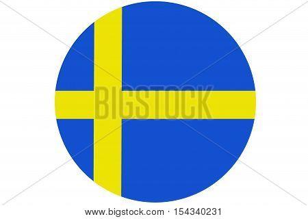 Sweden flag ,Sweden national flag illustration symbol.Circle flag illustration design