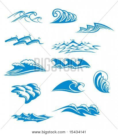 Set of wave symbols for design isolated on white. Jpeg version also available in gallery