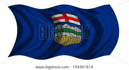 Albertan provincial official flag symbol. Canada banner and background. Canadian AB patriotic element. Flag of the Canadian province of Alberta wavy isolated on white fabric texture 3D illustration