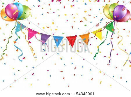 Festive colorful flags and balloons on white background Vector