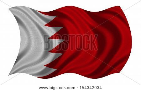 Bahraini national official flag. Patriotic symbol banner element background. Correct colors. Flag of Bahrain with real detailed fabric texture wavy isolated on white 3D illustration