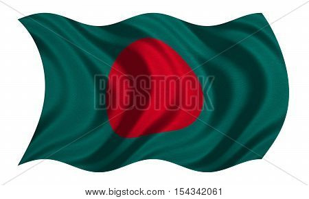 Bangladeshi national official flag. Patriotic symbol banner element background. Correct colors. Flag of Bangladesh with real detailed fabric texture wavy isolated on white 3D illustration