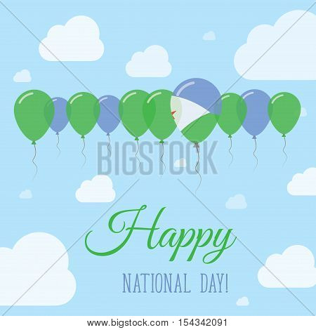 Djibouti National Day Flat Patriotic Poster. Row Of Balloons In Colors Of The Djibouti Flag. Happy N