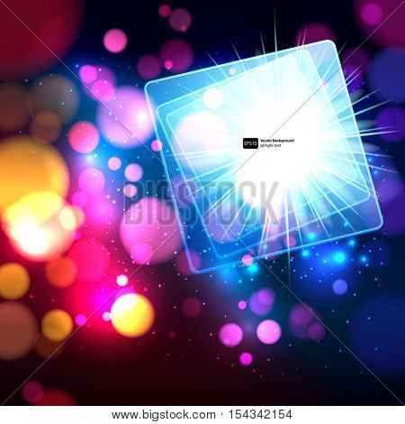 Colorful abstract background with bokeh defocused lights. Square banner for your text.