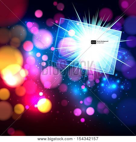 Colorful abstract background with bokeh defocused lights. Rectangle banner for your text.