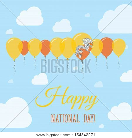 Bhutan National Day Flat Patriotic Poster. Row Of Balloons In Colors Of The Bhutanese Flag. Happy Na