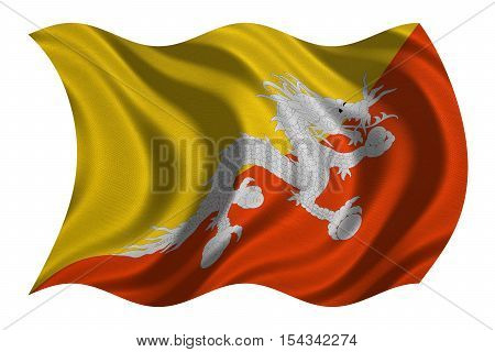 Bhutanese national official flag. Patriotic symbol banner element background. Correct colors. Flag of Bhutan with real detailed fabric texture wavy isolated on white 3D illustration