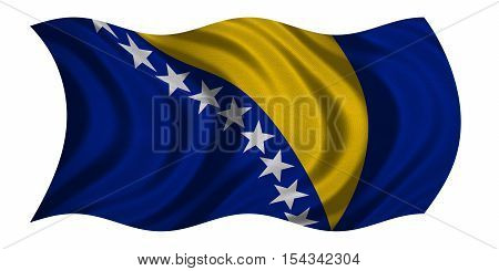 Bosnian and Herzegovinian national official flag. Patriotic symbol banner element background. Correct color. Flag of Bosnia and Herzegovina wavy isolated on white fabric texture 3D illustration