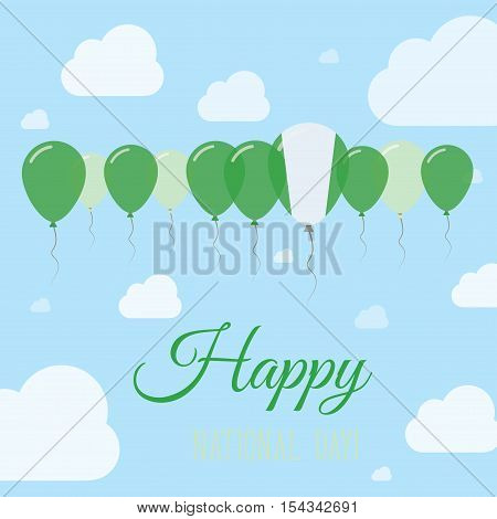 Nigeria National Day Flat Patriotic Poster. Row Of Balloons In Colors Of The Nigerian Flag. Happy Na